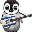 Baby-Pinguin, der Flagge der israelischen Flagge spielt von jeff bartels