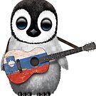 Baby Penguin Playing Slovenian Flag Guitar von jeff bartels