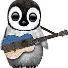 Baby Penguin Playing Estonian Flag Guitar von jeff bartels