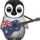 Baby Penguin Playing Australian Flag Guitar von jeff bartels