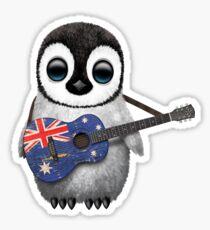 Baby Penguin Playing Australian Flag Guitar Sticker