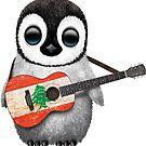 Baby-Pinguin, der libanesische Flaggen-Gitarre spielt von jeff bartels