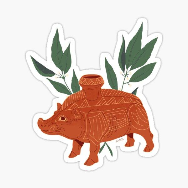 Etruscan Boar Vessel - Floral Artefacts Sticker