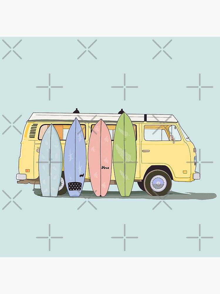 Aesthetic yellow van with surfboards   by MimieTrouvetou
