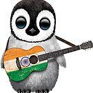 Baby-Pinguin, der indische Flaggen-Gitarre spielt von jeff bartels