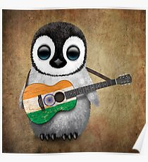Baby Penguin Playing Indian Flag Guitar Poster