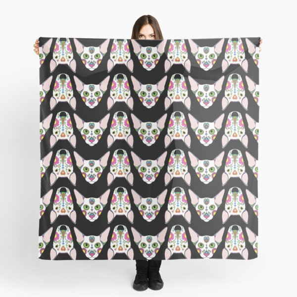 Mexican Cats and Dogs on black Scarf