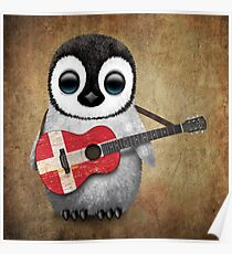 Baby Penguin Playing Danish Flag Guitar Poster