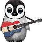 Baby Penguin Playing Dutch Flag Guitar von jeff bartels