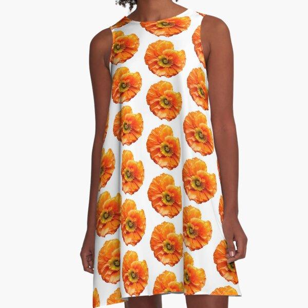 Mohnblume poppy orange  A-Linien Kleid