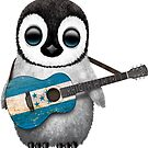 Baby Penguin Playing Honduran Flag Guitar von jeff bartels