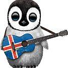 Baby Penguin Playing Icelandic Flag Guitar von jeff bartels
