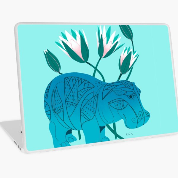 Faience Hippo - Floral Artefacts Laptop Skin