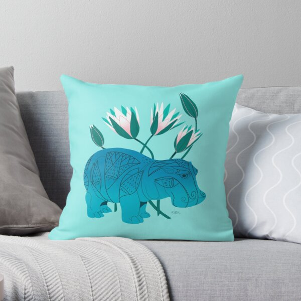 Faience Hippo - Floral Artefacts Throw Pillow