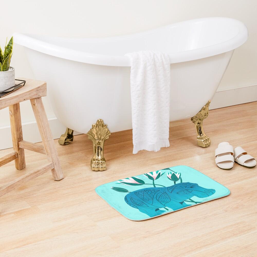 Faience Hippo - Floral Artefacts Bath Mat