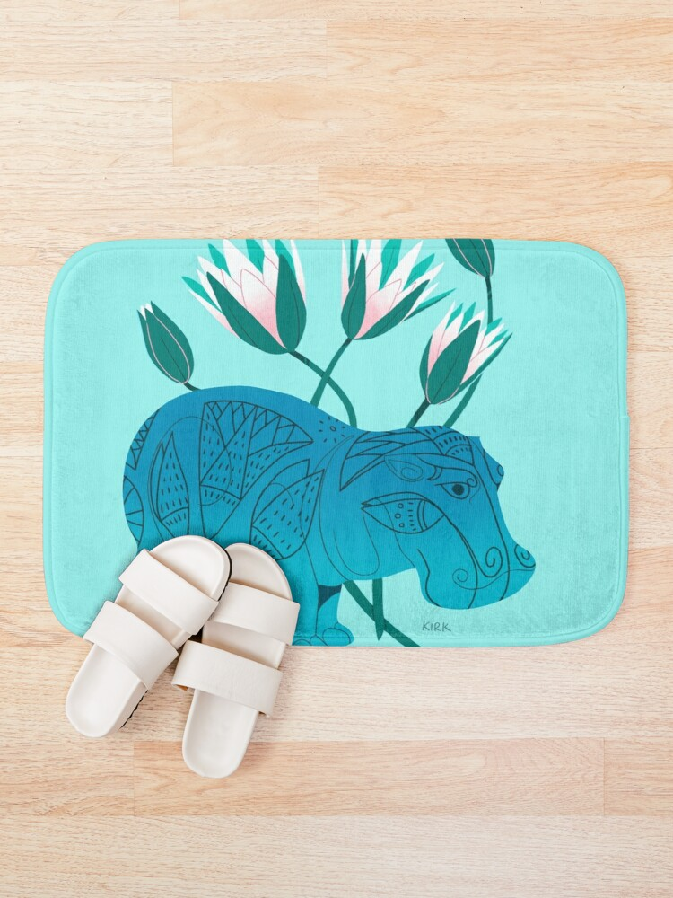 Alternate view of Faience Hippo - Floral Artefacts Bath Mat