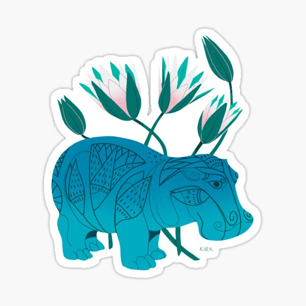 Faience Hippo - Floral Artefacts Sticker
