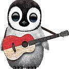 Baby-Pinguin, der indonesische Flaggen-Gitarre spielt von jeff bartels