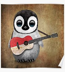 Baby Penguin Playing Indonesian Flag Guitar Poster