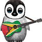 Baby Penguin Playing Guyanese Flag Guitar von jeff bartels