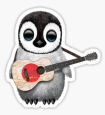 Baby Penguin Playing Japanese Flag Guitar Sticker