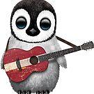 Baby-Pinguin, der lettische Flaggen-Gitarre spielt von jeff bartels