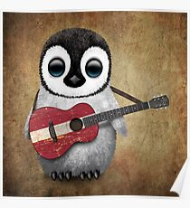 Baby Penguin Playing Latvian Flag Guitar Poster