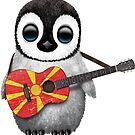 Baby Penguin Playing Macedonian Flag Guitar von jeff bartels