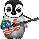 Baby Penguin Playing Malaysian Flag Guitar von jeff bartels