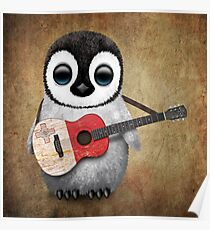 Baby Penguin Playing Maltese Flag Guitar Poster