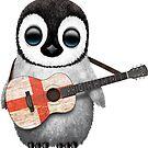 Baby-Pinguin, der englische Flaggen-Gitarre spielt von jeff bartels
