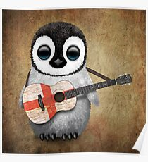 Baby Penguin Playing English Flag Guitar Poster