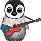 Baby-Pinguin, der Tschechische Republik-Flaggen-Gitarre spielt von jeff bartels