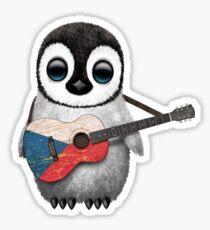 Baby Penguin Playing Czech Republic Flag Guitar Sticker