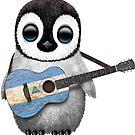 Baby Penguin Playing Nicaraguan Flag Guitar von jeff bartels