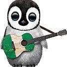 Baby Penguin Playing Nigerian Flag Guitar von jeff bartels