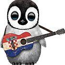 Baby-Pinguin, der kroatische Flaggen-Gitarre spielt von jeff bartels