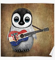 Baby Penguin Playing Croatian Flag Guitar Poster