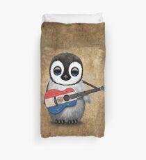 Baby Penguin Playing Paraguay Flag Guitar Duvet Cover
