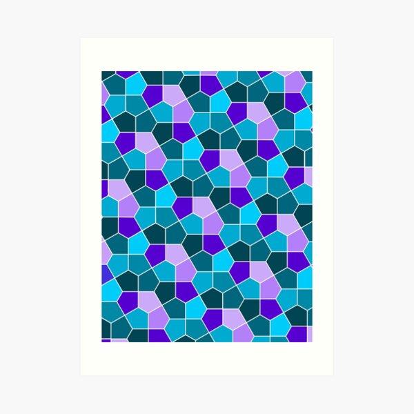 Cairo Pentagonal Tiles in Aqua and Purple Art Print