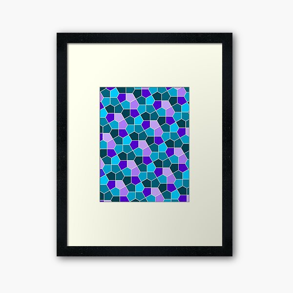 Cairo Pentagonal Tiles in Aqua and Purple Framed Art Print