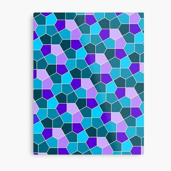 Cairo Pentagonal Tiles in Aqua and Purple Metal Print