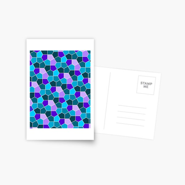 Cairo Pentagonal Tiles in Aqua and Purple Postcard