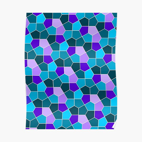 Cairo Pentagonal Tiles in Aqua and Purple Poster