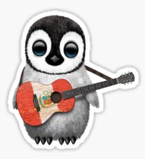 Baby Penguin Playing Peruvian Flag Guitar Sticker