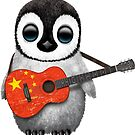 Baby Penguin Playing Chinese Flag Guitar von jeff bartels