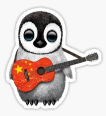 Baby Penguin Playing Chinese Flag Guitar Sticker