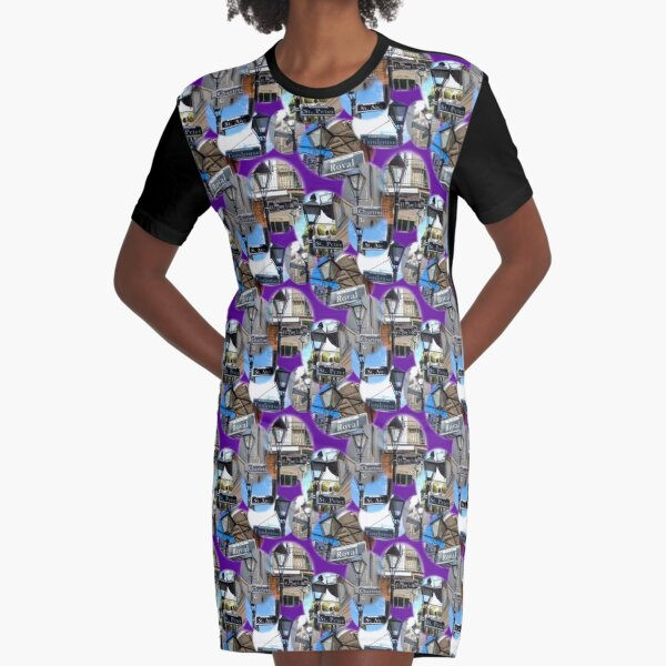 Pattern- Street Signs of the French Quarter- Purple Graphic T-Shirt Dress