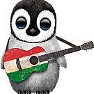 Baby Penguin Playing Hungarian Flag Guitar von jeff bartels