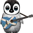 Baby-Pinguin, der schottische Flaggen-Gitarre spielt von jeff bartels